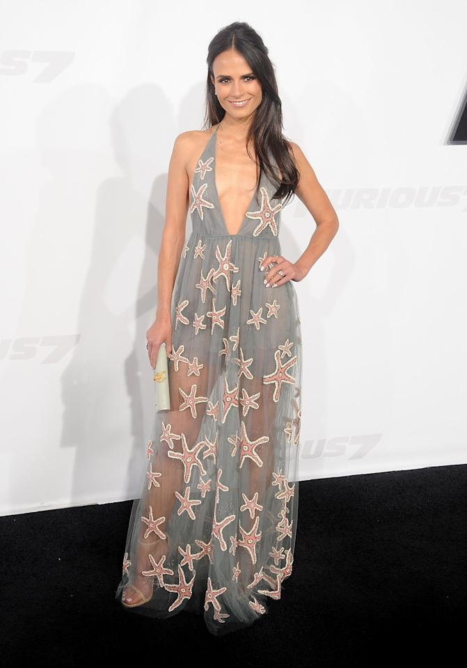 Jordana Brewster skipped over spring and right into summer wearing a Valentino gown from the Spring 2015 collection in a starfish pattern. The plunging halter tulle pale-grey gown was perfectly beach chic but the sheer skirt added some sexiness as well.