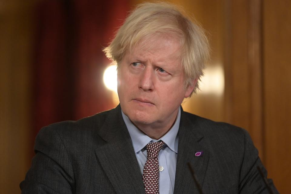 Prime Minister Boris Johnson during a media briefing in Downing Street, London, on coronavirus (Covid-19). Picture date: Wednesday January 27, 2021.
