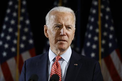 Democratic presidential nominee and former vice-president Joe Biden speaking about the coronavirus in Wilmington, Delaware on March 12, 2020. Photo: AP