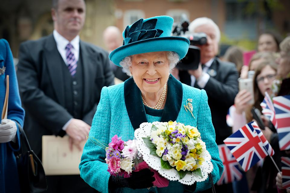 LEICESTER, UNITED KINGDOM - APRIL 13: Queen Elizabeth II and Prince Philip, Duke of Edinburgh attend the Royal Maundy service at Leicester Cathedral on April 13, 2017 in Leicester, England.   The Queen & Duke of Edinburgh traveled by car from Leicester station along Humberstone Gate, High Street and Jubilee Square.   PHOTOGRAPH BY Matt Short / Barcroft Images   London-T:+44 207 033 1031 E:hello@barcroftmedia.com -  New York-T:+1 212 796 2458 E:hello@barcroftusa.com -  New Delhi-T:+91 11 4053 2429 E:hello@barcroftindia.com www.barcroftimages.com (Photo credit should read Matt Short / Barcroft Media via Getty Images / Barcroft Media via Getty Images)