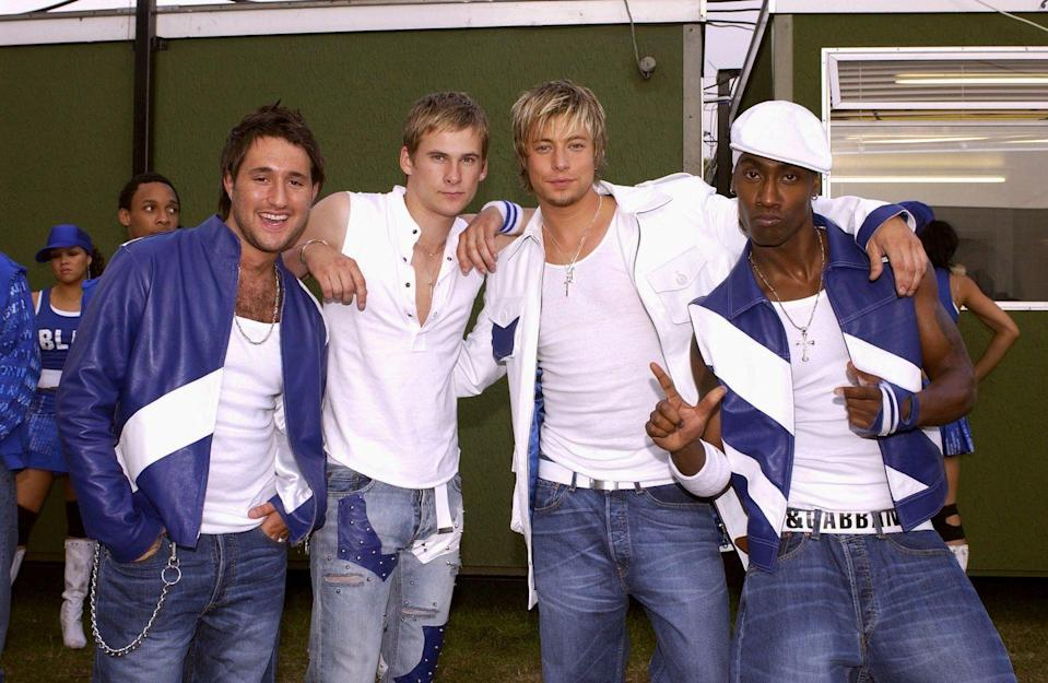 """<p>Okay, full disclosure? I mostly know about Blue because they are competing with Bill Nighy's Billy Mack character in <em>Love Actually</em> for number one holiday album. Nevertheless, Blue's (real) songs """"All Rise"""" and """"Best In Me"""" are some of the best boy band pop of the early aughts. </p>"""