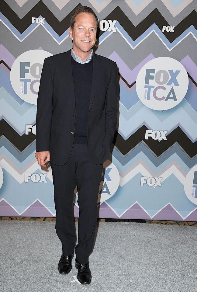 Kiefer Sutherland arrives at the 2013 TCA Winter Press Tour - FOX All-Star Party at The Langham Huntington Hotel and Spa on January 8, 2013 in Pasadena, California.
