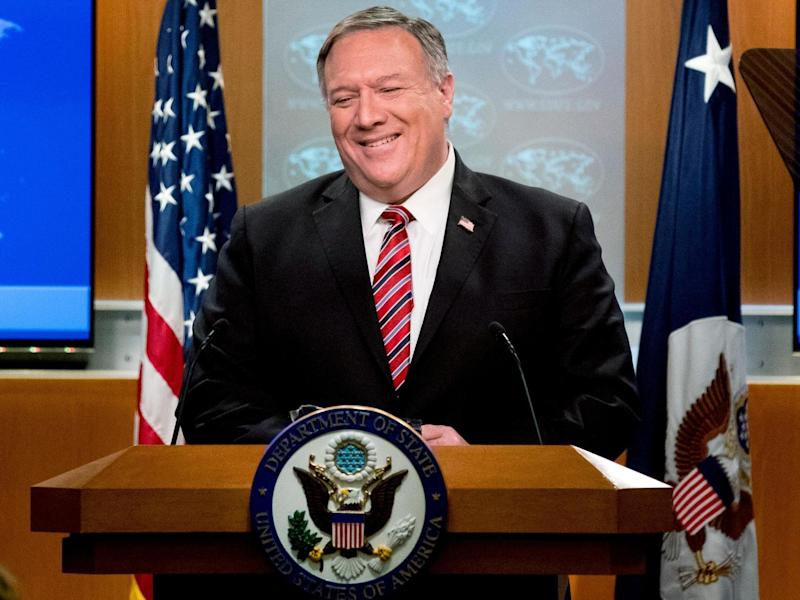 Secretary of State Mike Pompeo speaks at a State Department news conference on 29 April 2020 in Washington DC: POOL/AFP via Getty Images