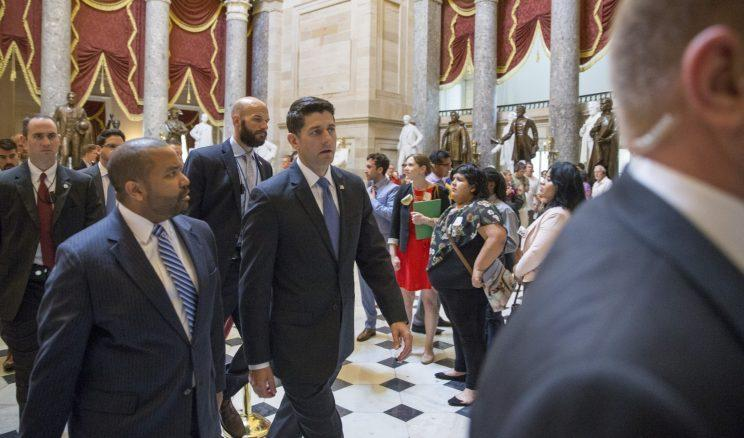 Speaker Paul Ryan leaves the House floor after speaking about the shooting. (Photo: Tasos Katopodis/Getty Images)