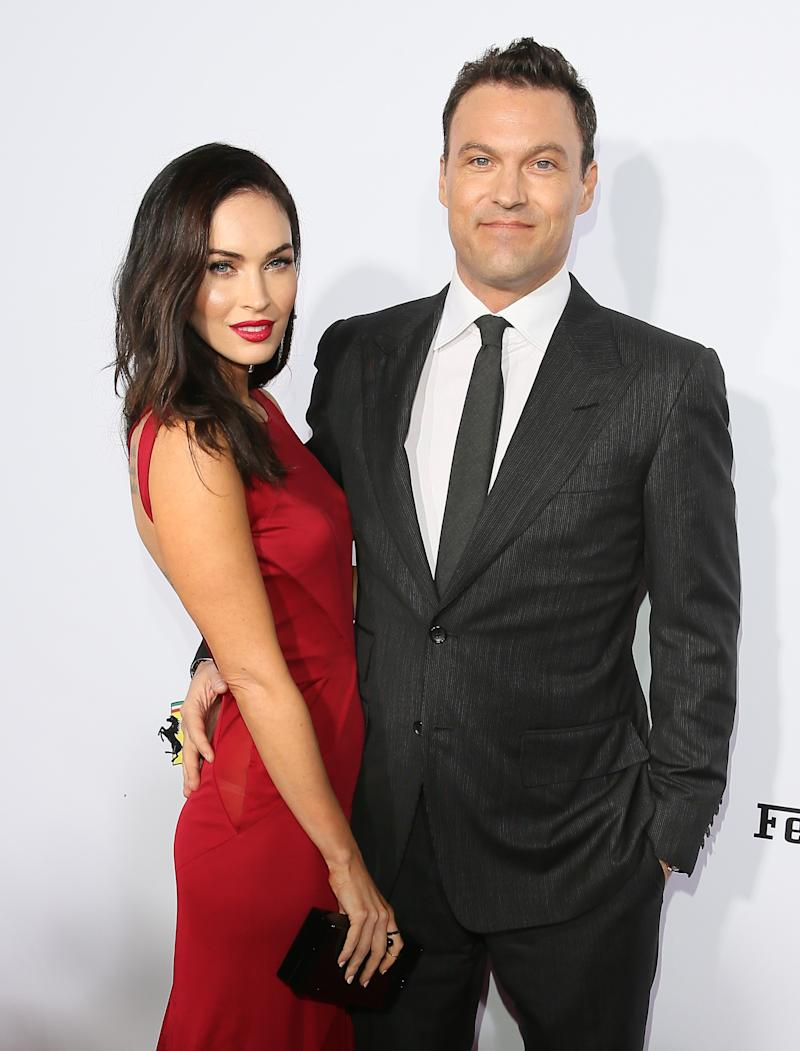 Actress Megan Fox and Brian Austin Green attend Ferrari's 60th Anniversary in the USA Gala at the Wallis Annenberg Center for the Performing Arts on October 11, 2014 in Beverly Hills, California.