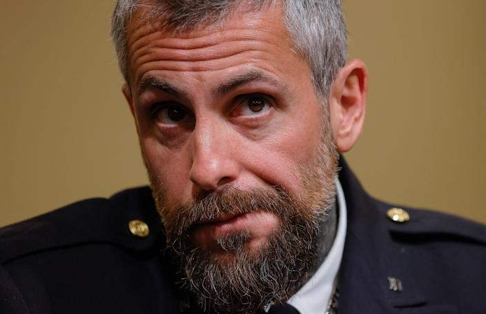 Metropolitan Police Officer Michael Fanone testifies during the opening hearing of the U.S. House (Select) Committee. (Getty Images)