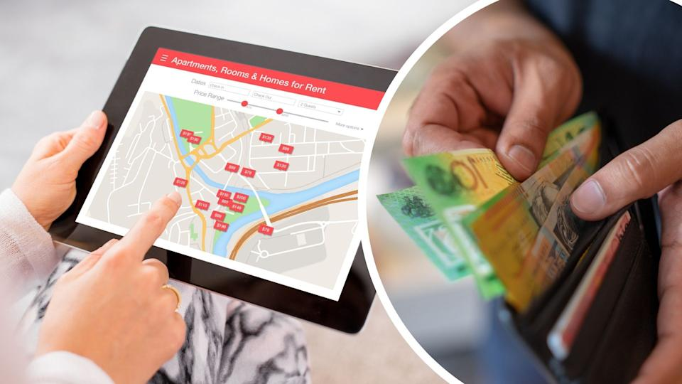 Person using tablet showing tablet marking rental properties, wallet with cash. Images: Getty