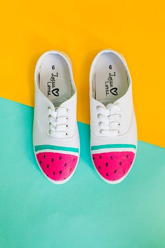 """<p>If like Beyonce you are also a fan of watermelons, you can easily make yourself a pair of watermelon trainers. <i><a href=""""https://uk.pinterest.com/pin/AXgMUXiABmbBpocUA5fXj0uamnCb7afwkf7JMp55_d_TPyQkbgr7ZTI/"""">[Photo: Pinterest]</a></i></p>"""