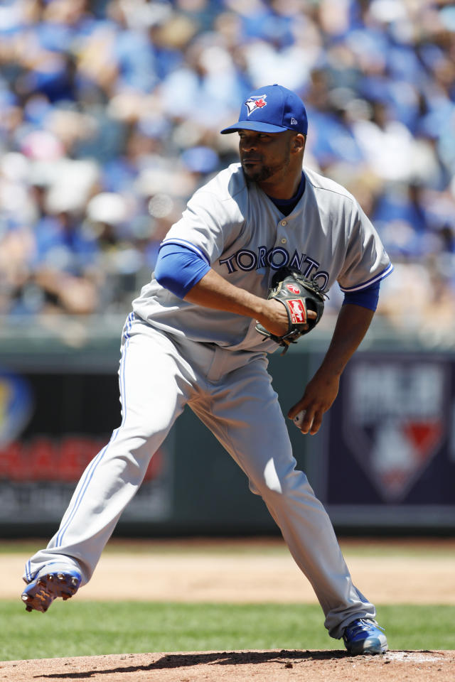 Toronto Blue Jays pitcher Francisco Liriano throws against a Kansas City Royals batter in the first inning of a baseball game at Kauffman Stadium in Kansas City, Mo., Sunday, June 25, 2017. (AP Photo/Colin E. Braley)