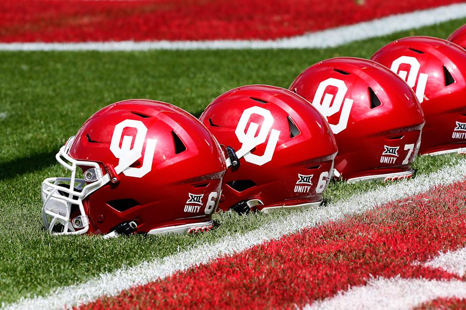 NORMAN, OK - APRIL 24:  Oklahoma Sooners helmets sit next to the end zone before their spring game at Gaylord Family Oklahoma Memorial Stadium on April 24, 2021 in Norman, Oklahoma.   (Photo by Brian Bahr/Getty Images)