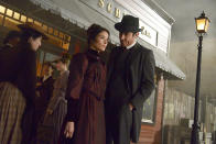 """<p>For the upcoming episode set at the 1893 Chicago World's Fair, Ceo chose a darker palette. """"We went with red because of the Murder Castle and H.H. Holmes, the first serial killer,"""" she says. """"We wanted to make it look really moody, so she's in jewel tones."""" Flynn, meanwhile, wears maroon — as does Lucy, who he has kidnapped. """"It's his color. In most of his outfits, he has that deep burgundy/maroon color. And her dress is his color."""" (Photo by: Sergei Bachlakov/NBC) </p>"""