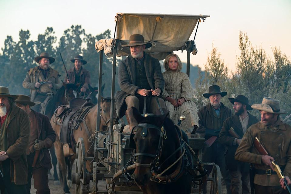 Captain Kidd (Tom Hanks) and Johanna's (Helena Zengel) odyssey through the Old West takes them to some less than desirable places. Photo: Universal.