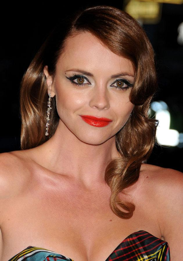 Celebrities wearing red lipstick: Christina Ricci teamed her red pout with smokey eyes.<br><br>[Rex]