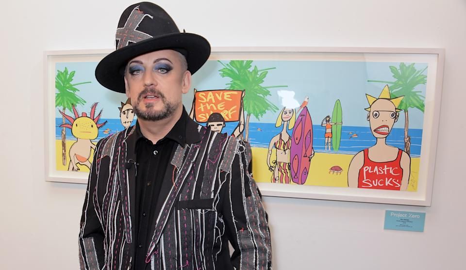 LONDON, ENGLAND - JANUARY 22: Boy George attends the unveiling of the Project Zero art installation on Carnaby Street on January 22, 2020 in London, England. (Photo by David M. Benett/Dave Benett/Getty Images)