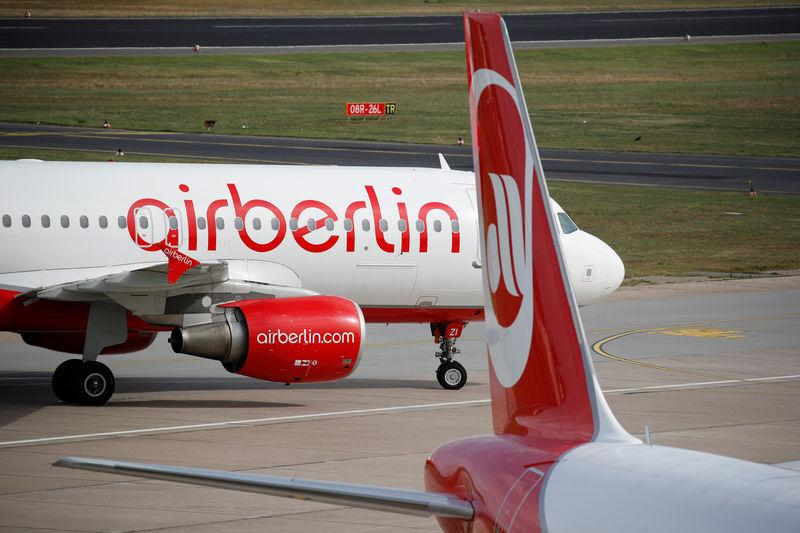 German carrier Air Berlin aircrafts are pictured at Tegel airport in Berlin