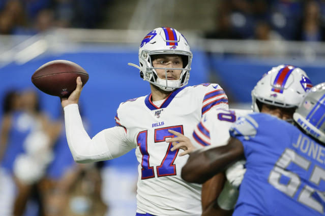 Buffalo Bills quarterback Josh Allen (17) throws during the first half of the team's NFL preseason football game against the Detroit Lions in Detroit, Friday, Aug. 23, 2019. (AP Photo/Duane Burleson)