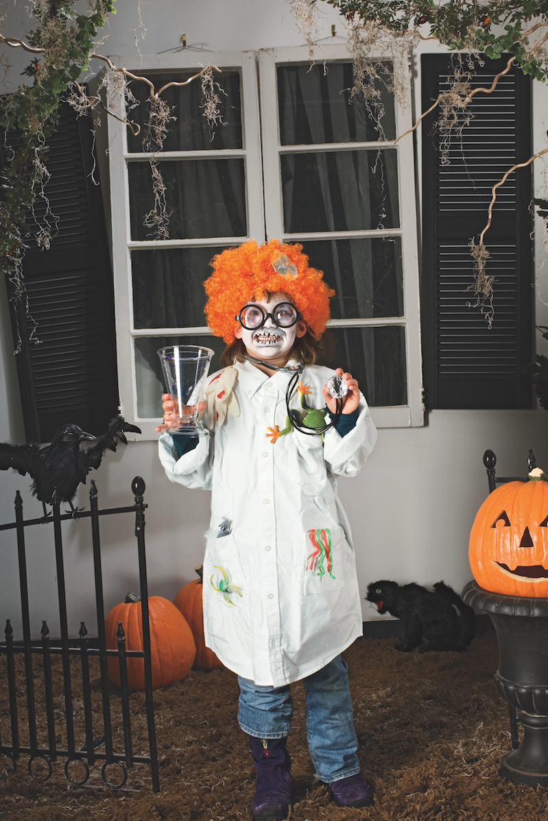 """<p>Steal one of Dad's white button downs and a measuring cup, to create a mad scientist costume!</p><p><a href=""""https://www.womansday.com/home/crafts-projects/how-to/a4260/halloween-costume-mad-scientist-98806/"""" rel=""""nofollow noopener"""" target=""""_blank"""" data-ylk=""""slk:Get the Mad Scientist tutorial."""" class=""""link rapid-noclick-resp""""><strong><em>Get the Mad Scientist tutorial.</em></strong></a></p>"""
