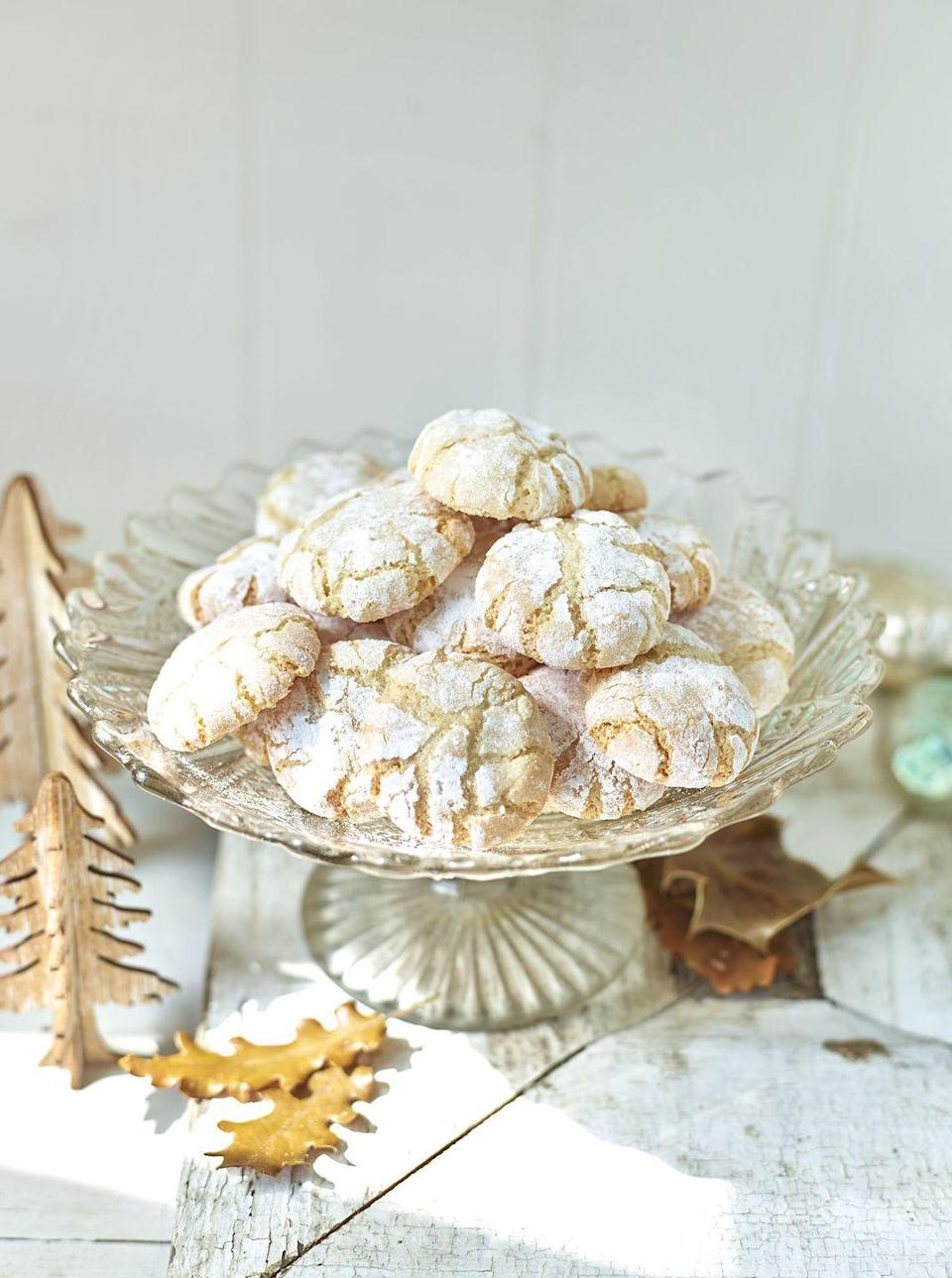 """<p>A classic Italian biscuit, amaretti biscuits are the perfect after dinner treat</p><p><strong>Recipe: <a href=""""https://www.goodhousekeeping.com/uk/food/recipes/a25304171/amaretti-biscuits/"""" rel=""""nofollow noopener"""" target=""""_blank"""" data-ylk=""""slk:Five-ingredient amaretti biscuits"""" class=""""link rapid-noclick-resp"""">Five-ingredient amaretti biscuits</a></strong></p>"""