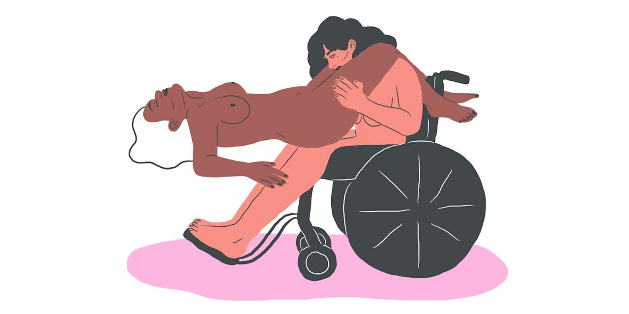 """<p>To serve up some real hotness, have one partner lean onto the bed so their crotch is conveniently located in their partner's lap. <strong>""""This is good for manual or oral stimulation,""""</strong> says Eva Sweeney, who teaches about sex and disability at <a href=""""https://urldefense.proofpoint.com/v2/url?u=http-3A__crippingupsexwitheva.com_&d=DwMFaQ&c=B73tqXN8Ec0ocRmZHMCntw&r=2CoYCNrVKQvEZyvmsfKkeaCa1uRgNa7a7-69Baq22Dg&m=yXtH_RDxyyL1-F8fsz6lv7fQ6K9XW4JBMvOZ8wvXSqs&s=KtpB7a9xw_Ef_KngSooJmUBL5ogBaYLVjNBx1LdOriQ&e="""" target=""""_blank"""">Cripping Up Sex With Eva</a>. Jazz it up with copious amounts of lube, leg humping and/or a strategically placed toy or two.</p>"""