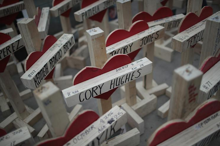 Crosses, each bearing the name of a murder victim, sit on the sidewalk along Michigan Avenue before the start of a Dec. 31 march to call attention to Chicago's rising murder rate (Photo: Scott Olson/Getty Images)