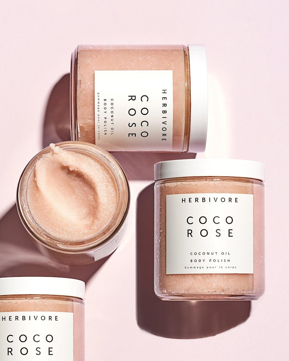 """<h3>Herbivore Coco Rose Exfoliating Body Scrub<br></h3><br>Herbivore's body scrub is specially formulated to exfoliate, moisturize, and glow-up the body and spirit.<br><br><strong>Herbivore Botanicals</strong> Coco Rose Exfoliating Body Scrub, $, available at <a href=""""https://go.skimresources.com/?id=30283X879131&url=https%3A%2F%2Fwww.herbivorebotanicals.com%2Fcollections%2Fbest-sellers%2Fproducts%2Fcoco-rose-body-polish"""" rel=""""nofollow noopener"""" target=""""_blank"""" data-ylk=""""slk:Herbivore Botanicals"""" class=""""link rapid-noclick-resp"""">Herbivore Botanicals</a>"""