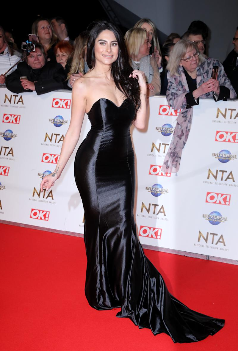 Carina Lepore attending the National Television Awards 2020 held at the O2 Arena, London.