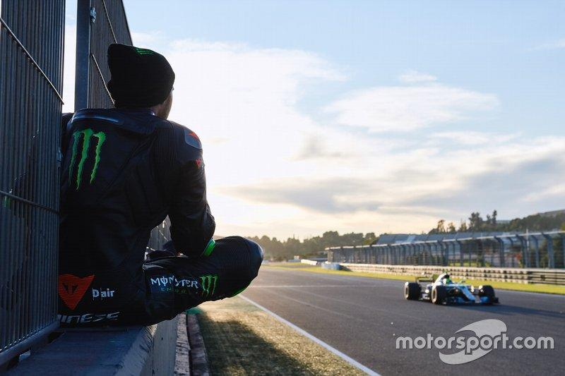 "Lewis Hamilton, Valentino Rossi, Mercedes-AMG F1 W08<span class=""copyright"">Monster Energy</span>"