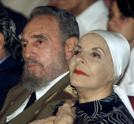 CUBAN LEADER FIDEL CASTRO WITH BALLERINA HONORS US INDEPENDENCE DAY.