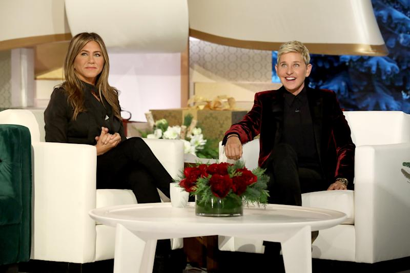 ELLEN'S GREATEST NIGHT OF GIVEAWAYS -- Pictured: (l-r) Jennifer Aniston, Ellen DeGeneres -- (Photo by: Mike Rozman/NBC/NBCU Photo Bank via Getty Images)