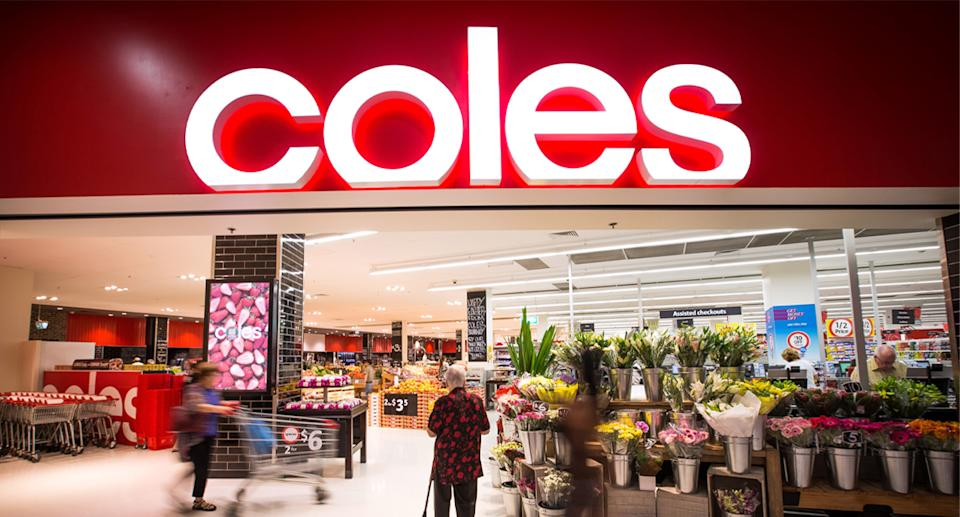 An exterior of a Coles store is pictured.