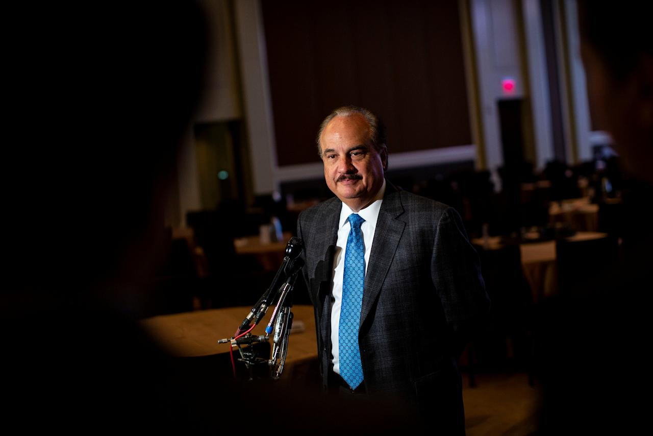 Larry Merlo, president and CEO of CVS Health, speaks with reporters after a discussion about the future of health care delivery, at the Mandarin Oriental hotel, in Washington, U.S., October 15, 2018. REUTERS/Al Drago