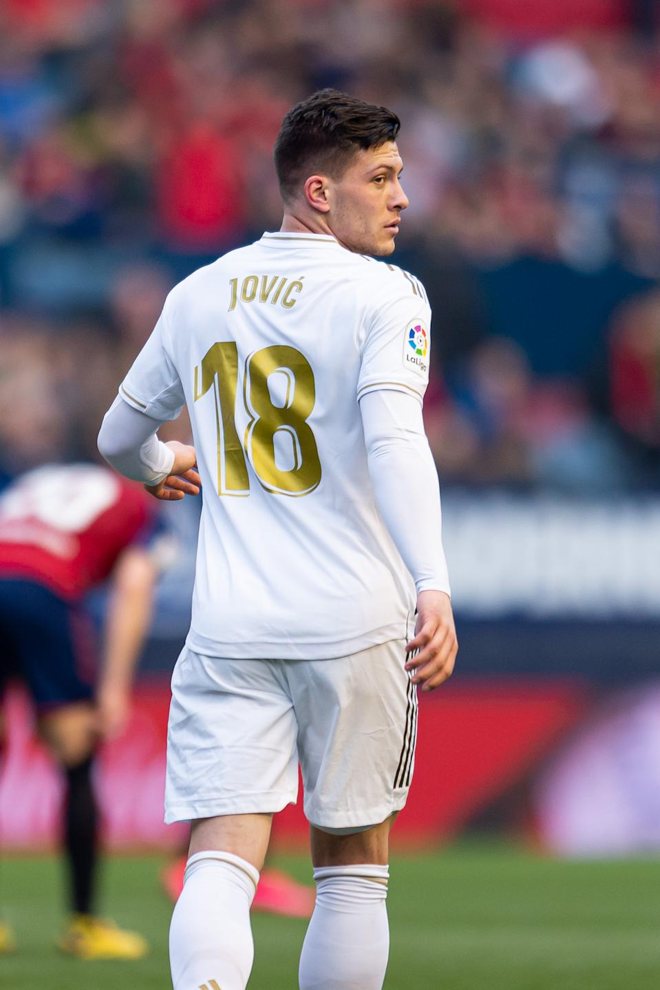 PAMPLONA, SPAIN - FEBRUARY 09: (BILD ZEITUNG OUT) Luka Jovic of Real Madrid looks on during the Liga match between CA Osasuna and Real Madrid CF at El Sadar Stadium on February 09, 2020 in Pamplona, Spain. (Photo by Alejandro/DeFodi Images via Getty Images)