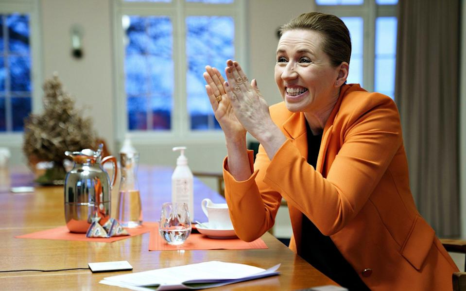 Mette Frederiksen is pushing her party to the right on immigration policy - EPA