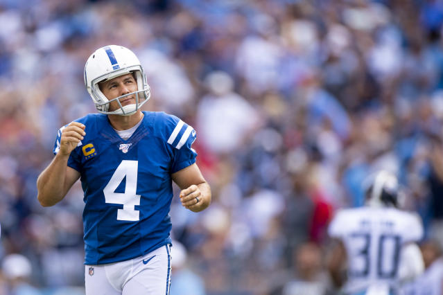 Colts kicker Adam Vinatieri reacts to hitting the right upright and missing a PAT during the fourth quarter against the Titans. (Getty Images)