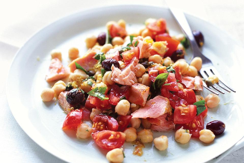"Feel free to use grilled salmon in in this lovely dish, which is delicious served either warm or at room temperature. <a href=""https://www.epicurious.com/recipes/food/views/fresh-salmon-salad-with-chickpeas-and-tomatoes-238264?mbid=synd_yahoo_rss"" rel=""nofollow noopener"" target=""_blank"" data-ylk=""slk:See recipe."" class=""link rapid-noclick-resp"">See recipe.</a>"