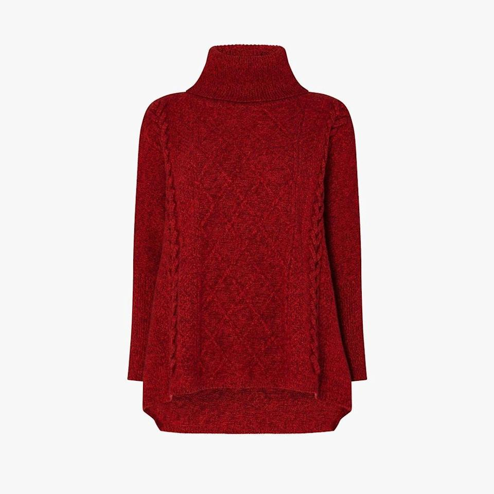 "$785, N.PEAL. <a href=""https://www.npeal.com/us/womens/cashmere-jumpers/oversize-cable-roll-neck-cashmere-sweater-lava-red-marl"" rel=""nofollow noopener"" target=""_blank"" data-ylk=""slk:Get it now!"" class=""link rapid-noclick-resp"">Get it now!</a>"