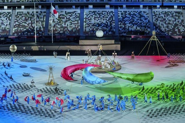 Three large inflatable Agitos during the opening ceremony