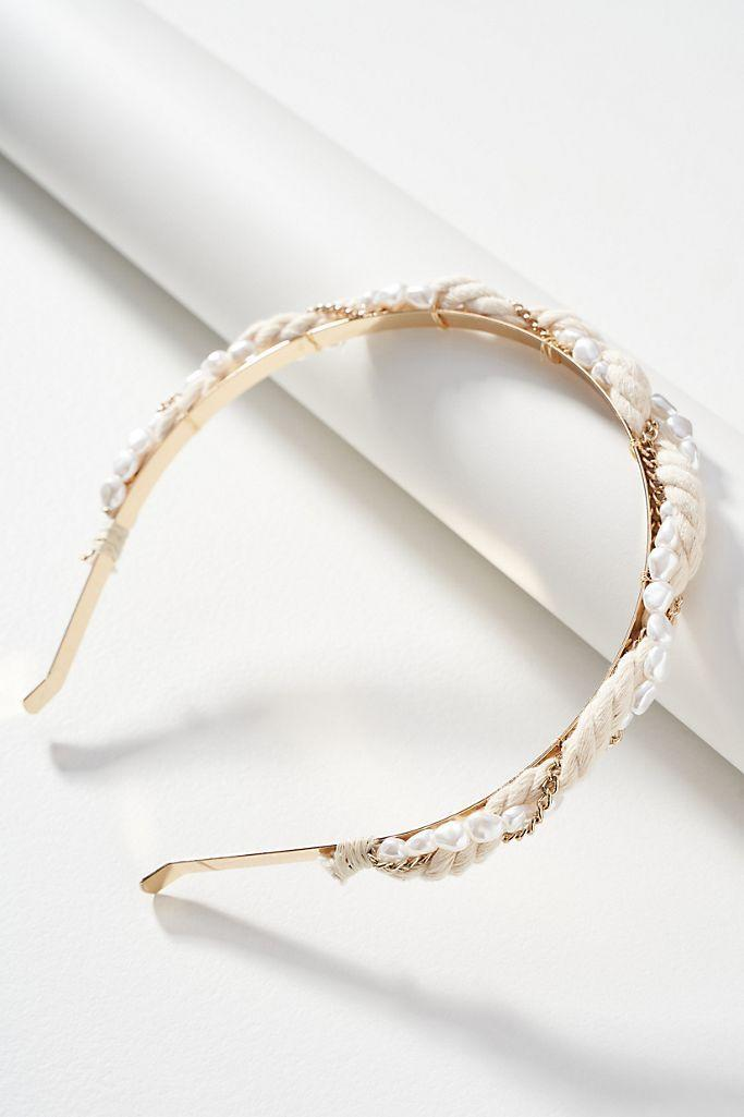 """<p><strong>Anthropologie</strong></p><p>anthropologie.com</p><p><strong>$18.00</strong></p><p><a href=""""https://go.redirectingat.com?id=74968X1596630&url=https%3A%2F%2Fwww.anthropologie.com%2Fshop%2Fshaye-embellished-headband&sref=https%3A%2F%2Fwww.oprahmag.com%2Fstyle%2Fg33414958%2Fbest-headbands%2F"""" rel=""""nofollow noopener"""" target=""""_blank"""" data-ylk=""""slk:Shop Now"""" class=""""link rapid-noclick-resp"""">Shop Now</a></p><p>Between the chain detailing, braided fabric, and pearly beads, this gold headband is stylish and super on trend for <a href=""""https://www.oprahmag.com/style/g28039025/fall-wedding-guest-dresses/"""" rel=""""nofollow noopener"""" target=""""_blank"""" data-ylk=""""slk:a fall wedding"""" class=""""link rapid-noclick-resp"""">a fall wedding</a>. The slim profile makes it especially great for those with smaller heads or <a href=""""https://www.oprahmag.com/beauty/hair/g27654060/hairstyles-for-thin-hair/"""" rel=""""nofollow noopener"""" target=""""_blank"""" data-ylk=""""slk:fine hair"""" class=""""link rapid-noclick-resp"""">fine hair</a>.</p>"""