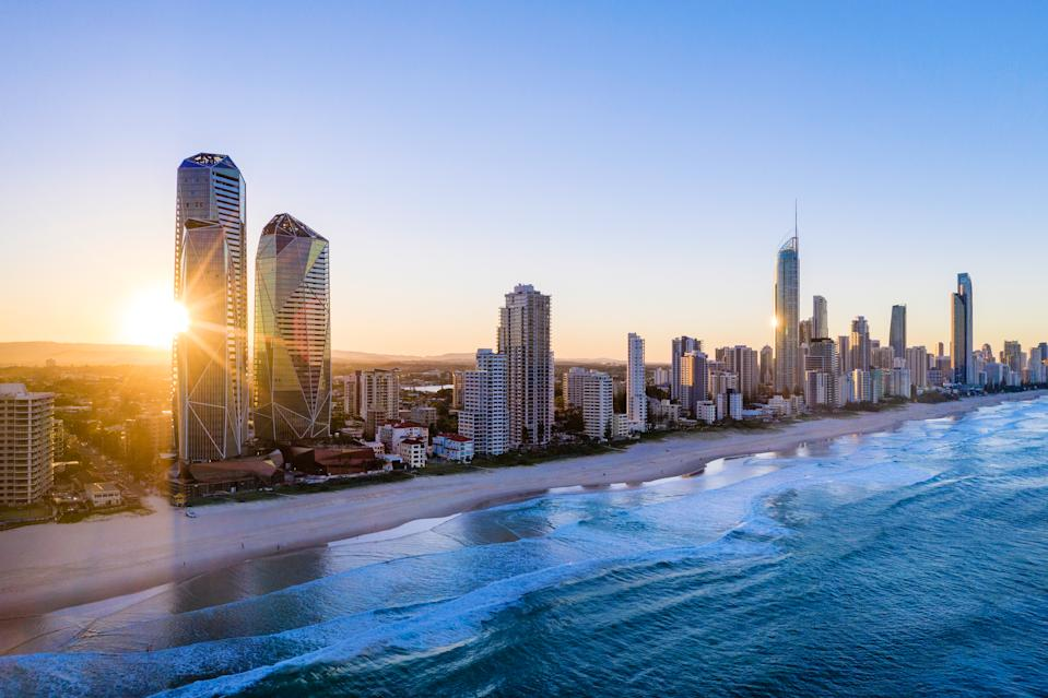 Sunset over the city of Gold Coast looking from the south, Queensland, Australia