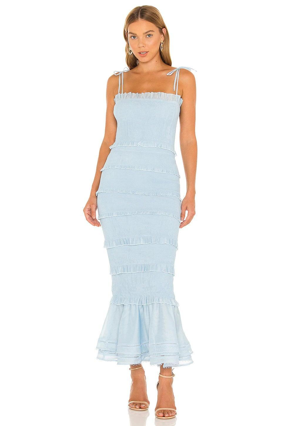 <p>This <span>V. Chapman Geranium Dress</span> ($385) is sweet and sexy at the same time. We like the little ruffles and the baby blue hue.</p>