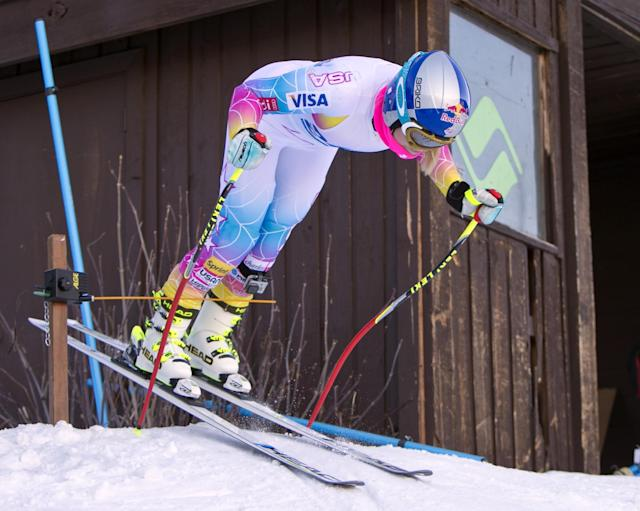 Lindsey Vonn from Vail, Colo., heads out of the starting gate of the Austrian training course at Gold Peak, Vail Colo., on Friday, Nov. 8, 2013. Vonn is the only person to train with the Austrian Men's team. (AP Photo/Nathan Bilow)