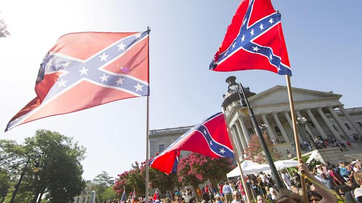 Confederate flag supporters protest after the flag was permanently removed from the South Carolina statehouse grounds in Columbia in 2015. (Jason Miczek/Reuters)