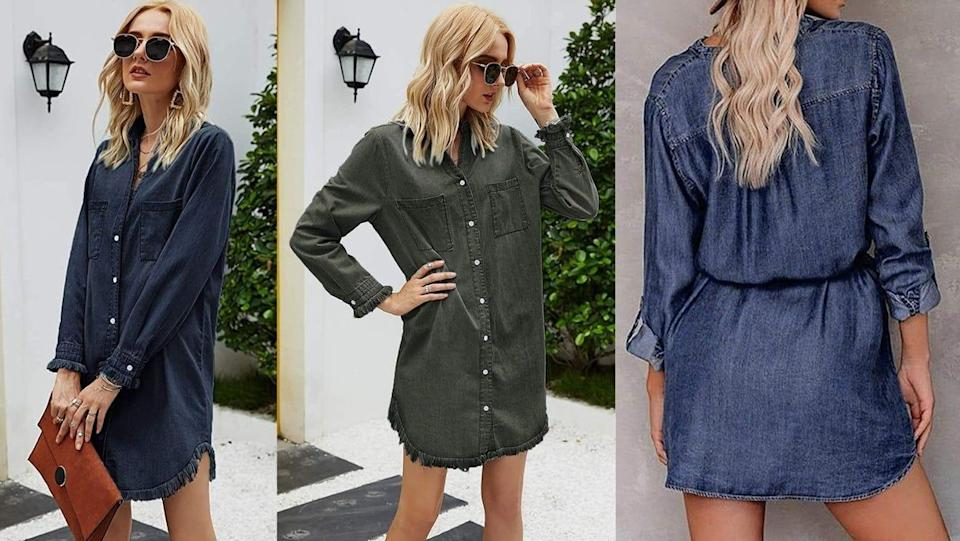 A denim shirt dress is comfortable, practical and ideal for layering.