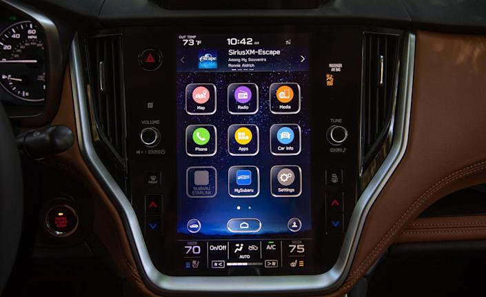 <p>The biggest upgrades to the Legacy are inside its restyled cabin, which sports a large 11.6-inch vertically oriented infotainment display in all but the base model.</p>