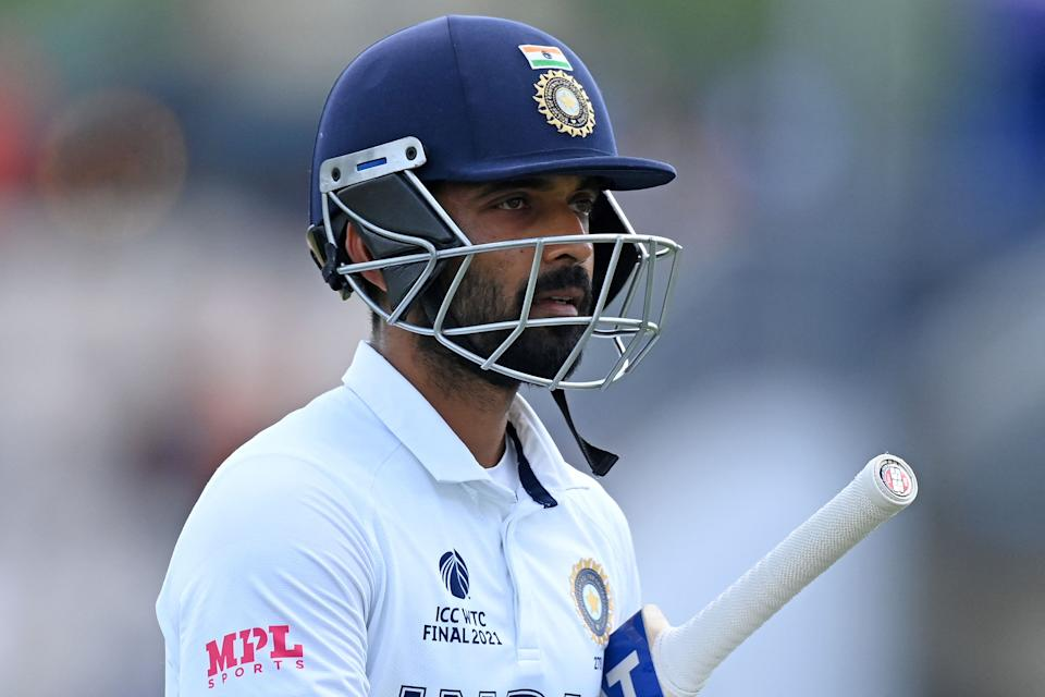 India's Ajinkya Rahane walks back to the pavilion after losing his wicket for 15 runs on the final day of the ICC World Test Championship Final between New Zealand and India at the Ageas Bowl in Southampton, southwest England on June 23, 2021. - RESTRICTED TO EDITORIAL USE (Photo by Glyn KIRK / AFP) / RESTRICTED TO EDITORIAL USE (Photo by GLYN KIRK/AFP via Getty Images)