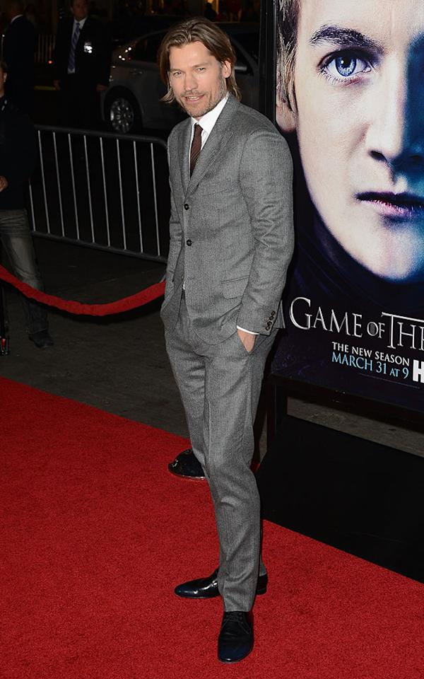 "Nikolaj Coster-Waldau arrives at the premiere of HBO's ""Game of Thrones"" Season 3 at TCL Chinese Theatre on March 18, 2013 in Hollywood, California."