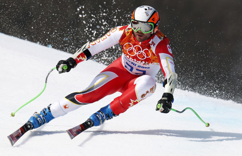 Jan Hudec of Canada skis during the men's alpine skiing Super-G competition at the 2014 Winter Olympics in Sochi, Russia. (Dominic Ebenbichler / Reuters)