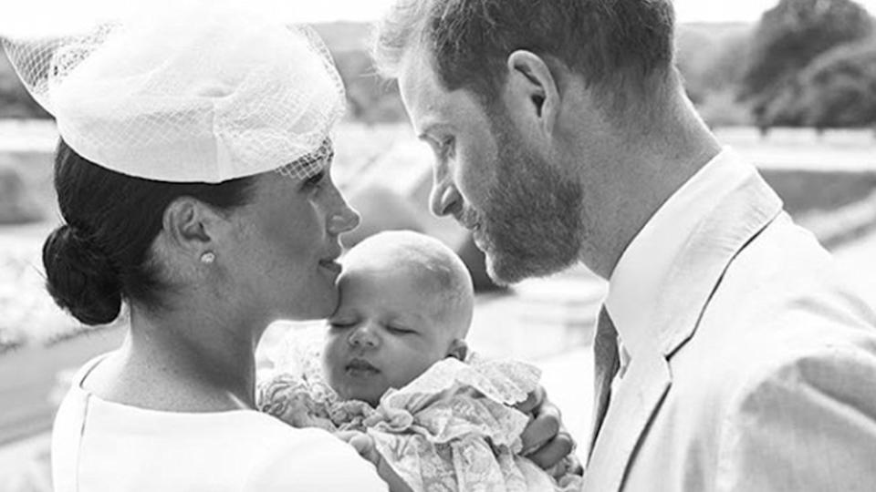 Prince Harry and Meghan Markle hold their baby son Archie at his christening in 2019