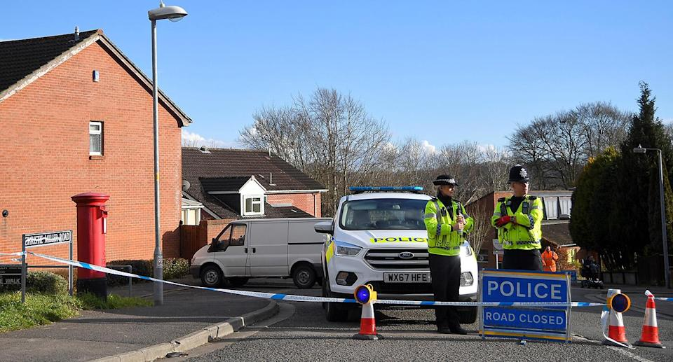 Police seal off the road where Russian Sergei Skripal lives in Salisbury, Britain. (Toby Melville/Reuters)