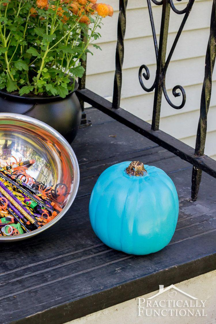 """<p>If you spot a <a href=""""https://www.goodhousekeeping.com/holidays/halloween-ideas/a25868/teal-pumpkin-project/"""" rel=""""nofollow noopener"""" target=""""_blank"""" data-ylk=""""slk:teal pumpkin"""" class=""""link rapid-noclick-resp"""">teal pumpkin</a> on your neighbor's porch, it's because they're likely one of the 100,000 households who have pledged to participate in <a href=""""http://www.foodallergy.org/teal-pumpkin-project#.VhfW2bRVhBd"""" rel=""""nofollow noopener"""" target=""""_blank"""" data-ylk=""""slk:The Teal Pumpkin Project"""" class=""""link rapid-noclick-resp"""">The Teal Pumpkin Project</a> — the color lets trick-or-treaters with a food allergy know that the treats provided are safe to eat. </p><p><em><a href=""""http://www.practicallyfunctional.com/teal-pumpkin-project-halloween/#_a5y_p=2717596"""" rel=""""nofollow noopener"""" target=""""_blank"""" data-ylk=""""slk:Get the tutorial at Practically Functional »"""" class=""""link rapid-noclick-resp"""">Get the tutorial at Practically Functional »</a></em></p>"""